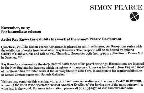 Ray Ruseckas Simon Pearce Press release